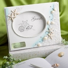 Engraved Beach Themed Wedding Guest Book