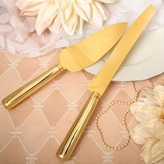 Simple Elegance Classic Gold Stainless Steel Engraved Cake Knife Set