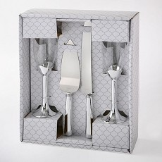 Plain Elegance Silver 4 Piece Glass & Server Set