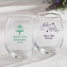 15 Ounce Stemless Wine Glasses - Celebration