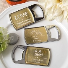 Personalized Metallics Bottle Opener  With Clear Epoxy Dome Cover-Celebrate