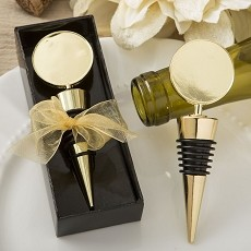 Perfectly Plain Gold Metal Bottle Stopper-Gold Metal Round Top