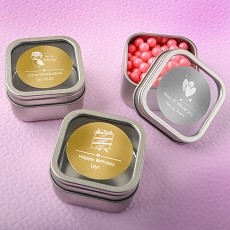 Personalized Metallic Collection Clear Top Mint Tin Favors - Celebrate