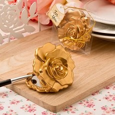 Matte Gold Rose Design Compact Mirror