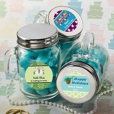 Personalized Glass Mason Jars - Holiday