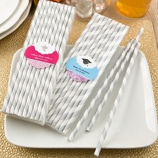 Customized Silver/White Stripe Paper Straws-Celebrate