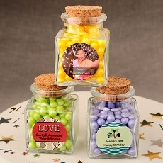 Personalized Expressions Collection Square Clear Glass Treat Jar-Celebrate