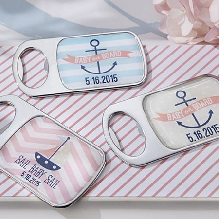 Personalized Bottle Opener w/Epoxy Dome -  Nautical Baby -Kate Aspen