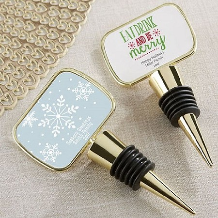 Personalized Gold Bottle Stopper/Epoxy Dome - Holiday-Kate Aspen