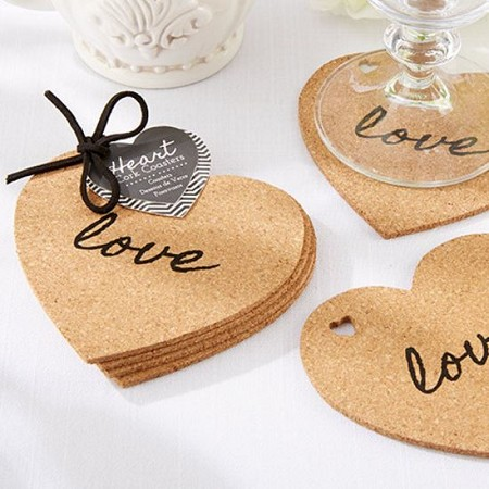 Heart Cork Coasters (Set of 4)-Kate Aspen