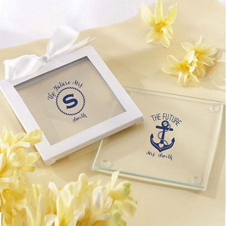 Personalized Glass Coasters - Nautical Bridal  (Set of 12)-Kate Aspen