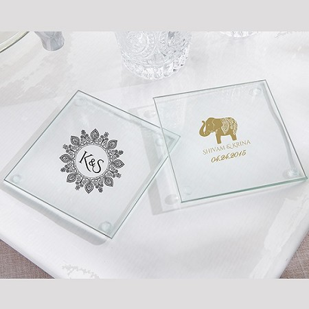 Personalized Glass Coaster - Indian Jewel (Set of 12)-Kate Aspen