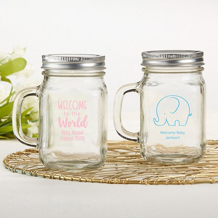 Personalized 12 oz. Mason Jar Mug With Lid - Baby Shower