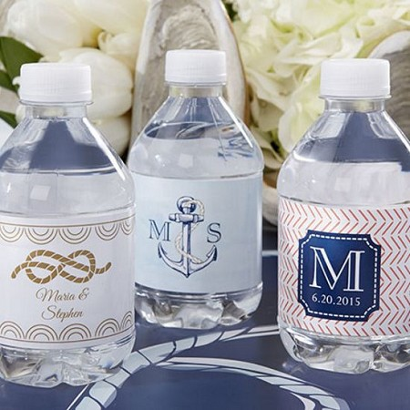 Personalized Water Bottle Labels - Nautical Wedding-Kate Aspen