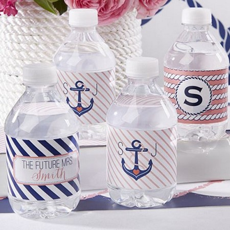 Personalized Water Bottle Labels - Nautical Bridal-Kate Aspen