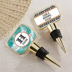 Personalized Gold Bottle Stopper - Tropical Chic