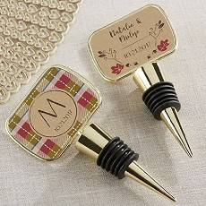 Personalized Gold Bottle Stopper with Epoxy Dome - Fall