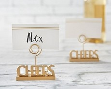 Cheers to You Gold Place Card Holder (Set of 6)-Kate Aspen