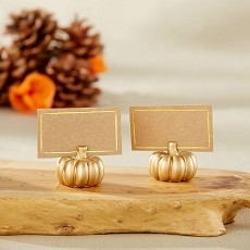 Gold Pumpkin Fall Place Card Holder (Set of 6)