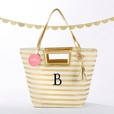 Striped Metallic Gold Tote With Tassel - Personalization Available