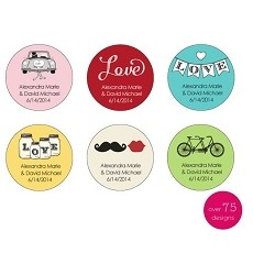 Personalized Round Stickers - Wedding (48)