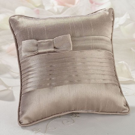 Lillian Rose Taupe Pleated Silk Ring Bearer Pillow