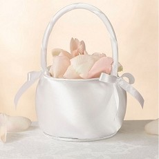 Satin Flower Basket-Off White