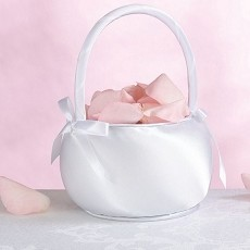 Satin Flower Basket- White