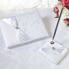 Lillian Rose White Lace Guest Book and Pen Set