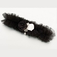 Tulle Garter w/Jewel-Black
