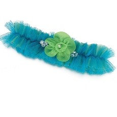 Blue/Green Tulle Garter