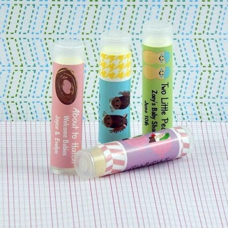 Personalized Twins Baby Shower Lip Balm Favors (set of 15)