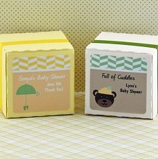 Personalized Baby Shower Square Favor Labels (Set of 12)