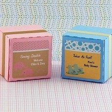 Personalized Twins Baby Shower Square Favor Labels (Set of 12)