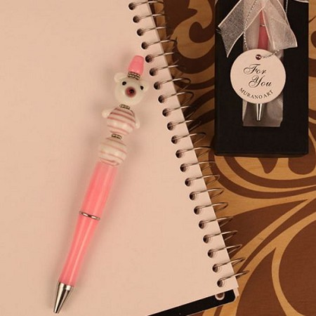 Pink Scribble Bears Arte Murano Glass Topped Pen