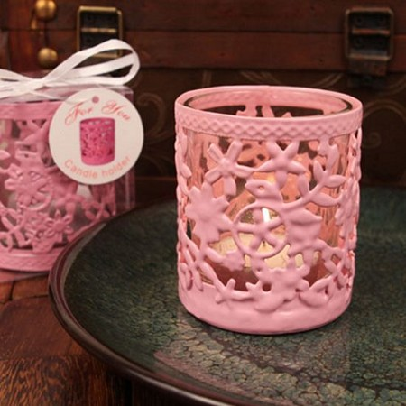 Glowing Garden Steel Candle Holder W/Tea Light(Pink)