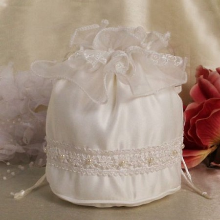 Satin Purse Ivory Bridal Purse Lace and Beads
