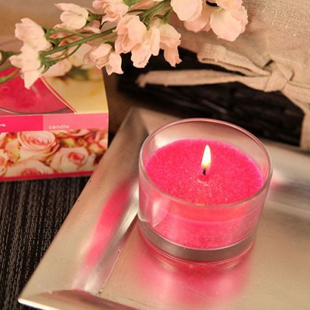 Rose Scented Candle in Glass Holder (4 colors)