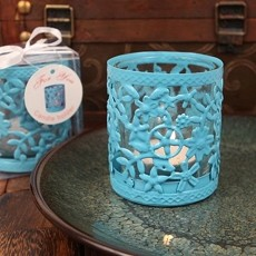 Glowing Garden Steel Candle Holder W/Tea Light(Blue)