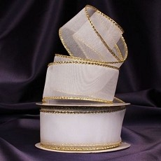 White Organza Ribbon w/ Gold & Wire Edge