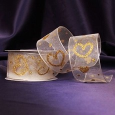 Hearts of Gold Ivory Organza Ribbon