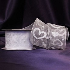 Silver Hearts White Organza Ribbon