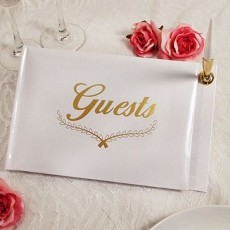 Love Guest Book w/Gold Accents