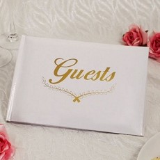 Warm Regards Guest Book w/Gold Accents
