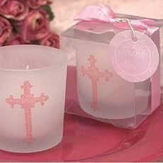 Blessed Events Cross Design Candle - Pink