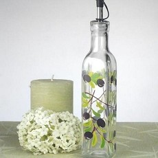 Medium Oil Bottle w/Olives Design